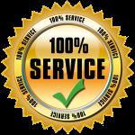 100% service logo gold